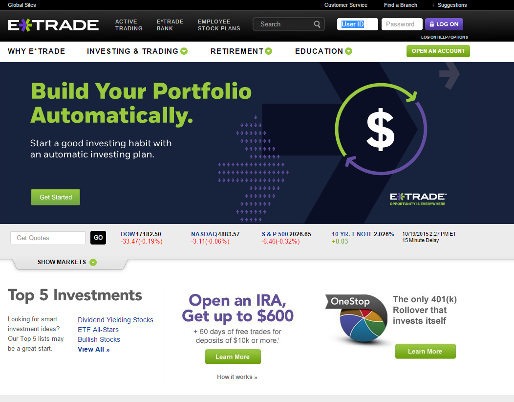 ETRADE Homepage
