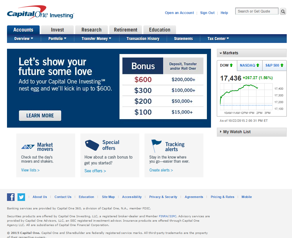Capital One Investing Homepage