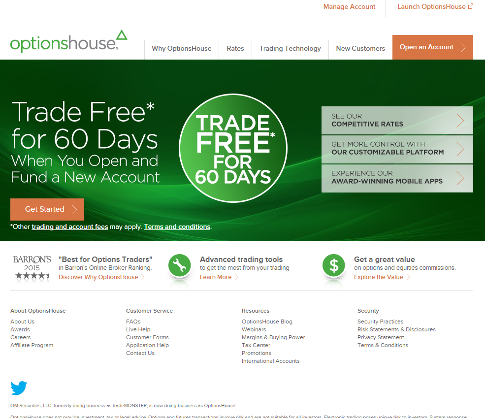 OptionsHouse Homepage