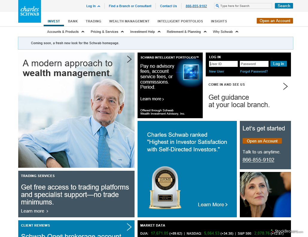 Charles Schwab Homepage
