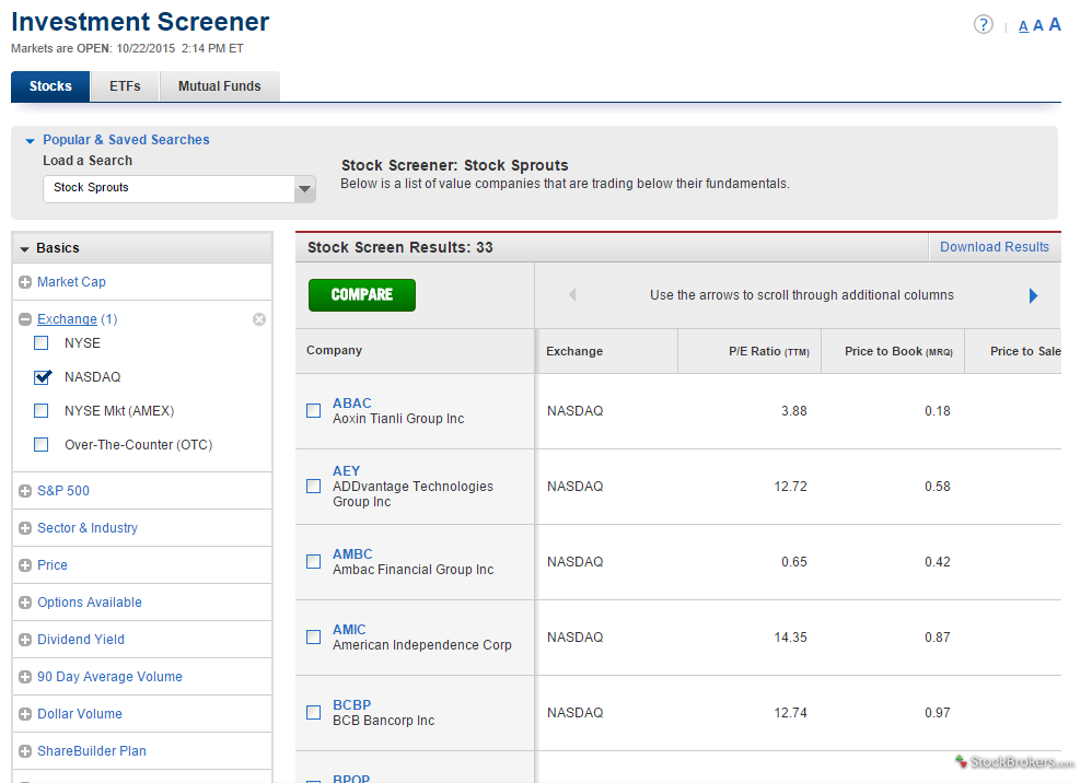 Capital One Investing Screener