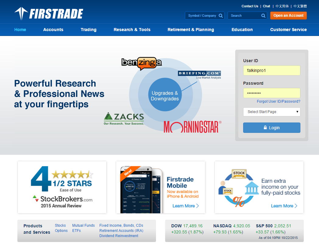 Firstrade Homepage