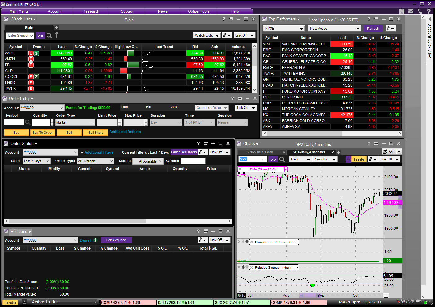 Scottrade ELITE desktop platform